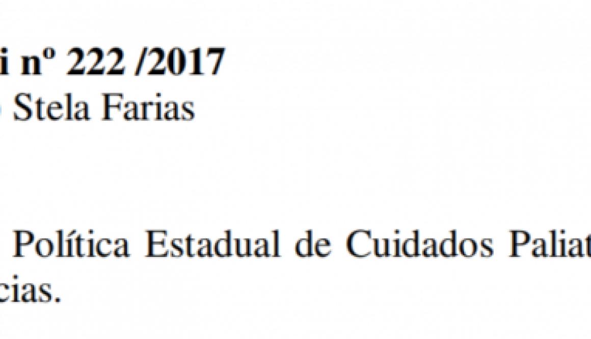 O projeto de lei nº 222 /2017 foi aprovado por unanimidade no dia 18/12/2018