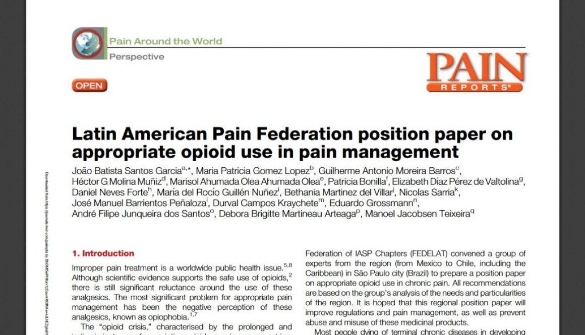 Documento aborda a situação dos opioides na América Latina