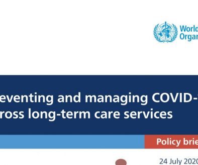 "OMS disponibiliza documento ""Preventing and managing COVID-19 across long-term care services"""